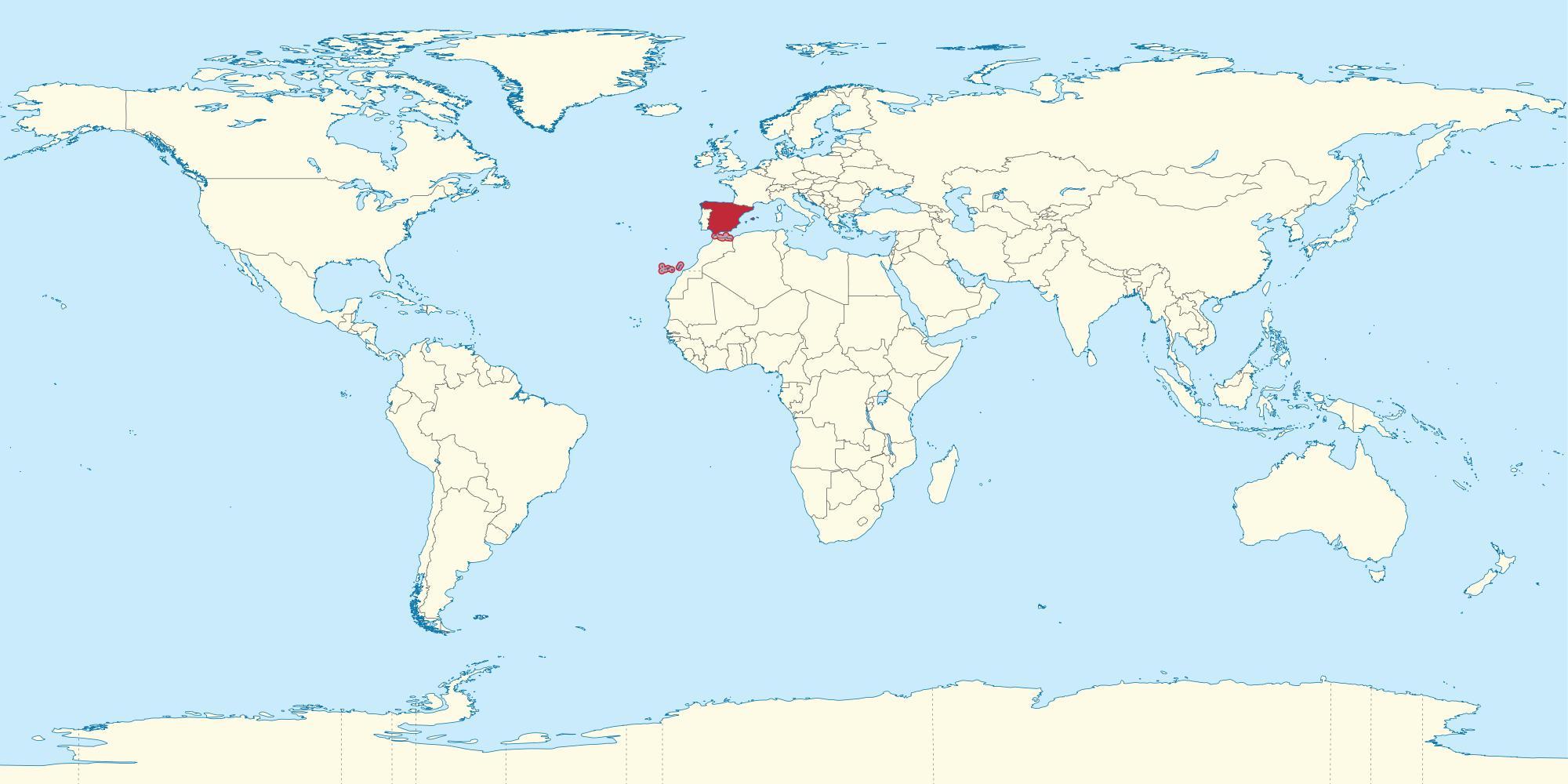 Espanja Maa Maailman Kartta Maailman Kartta Espanja Korostettu