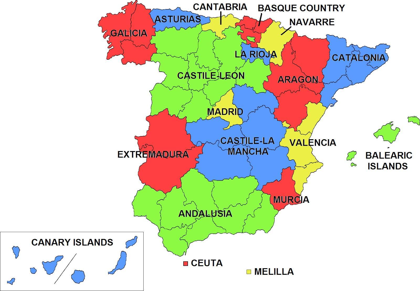 Espanjan Autonomisten Alueiden Kartta Kartta Espanjan