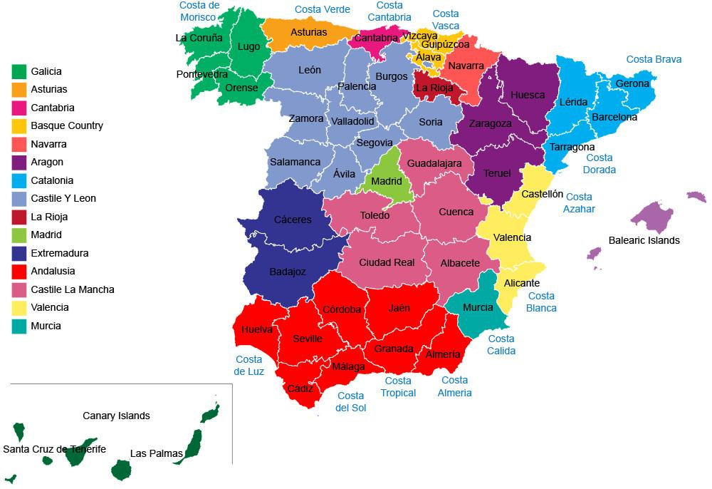 Espanjan Maakunnat Kartta Espanja Kartta Alueiden Maakuntien