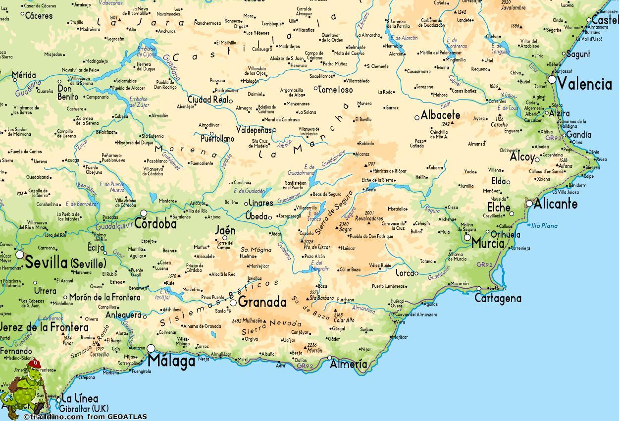 Etela Espanjan Kartta Kartta Espanja Etela Etela Euroopassa