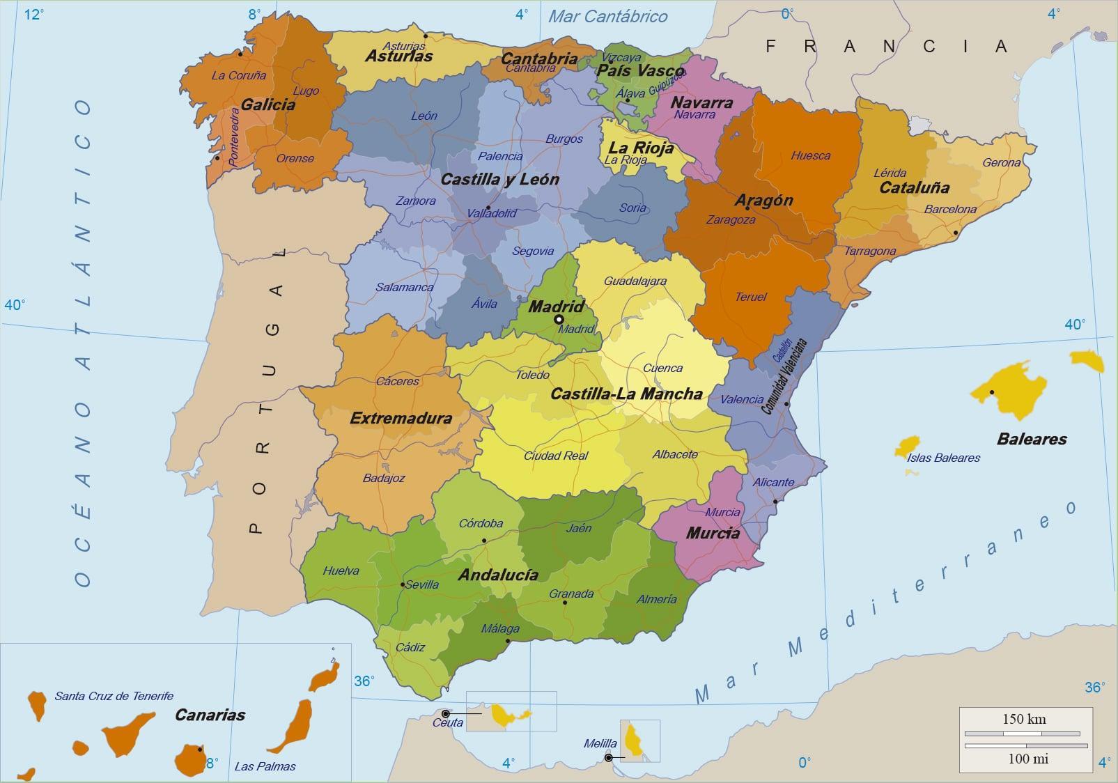 Kartta Espanja Ja Saaret Kartta Espanjassa Ja Sen Saarilla