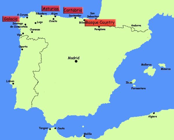 Kartta Pohjois Espanjan Rannikko Pohjois Espanjan Lomakohteet