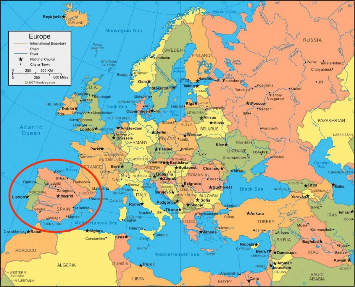 Espanja Kartta Euroopan Kartta Espanjassa Ja Euroopassa Etela
