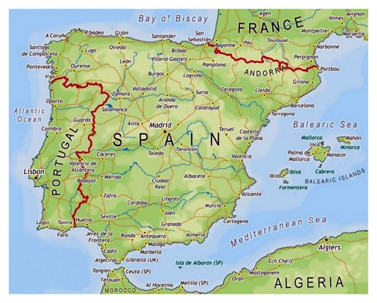 Espanjan Alueet Kartta Pieni Kartta Espanja Etela Euroopassa