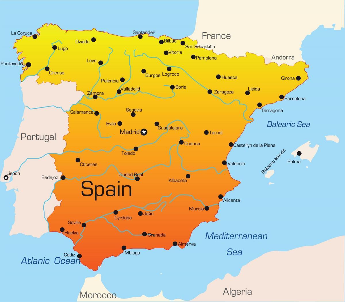 Espanjan Lomakohteista Kartta Lomakohteista Espanjassa Kartta