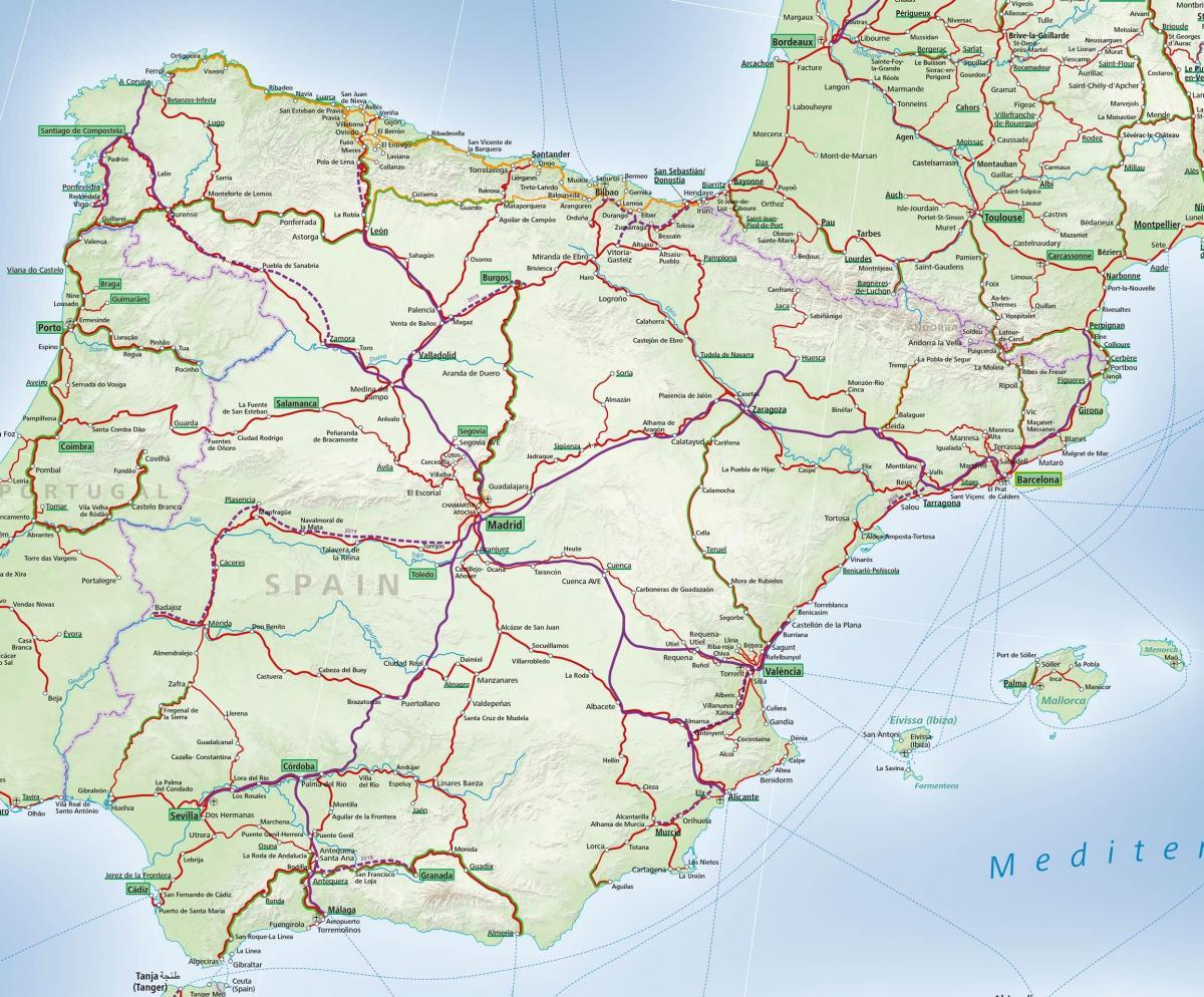 Espanja Rail Map Kartta Espanja Rail Etela Euroopassa Eurooppa