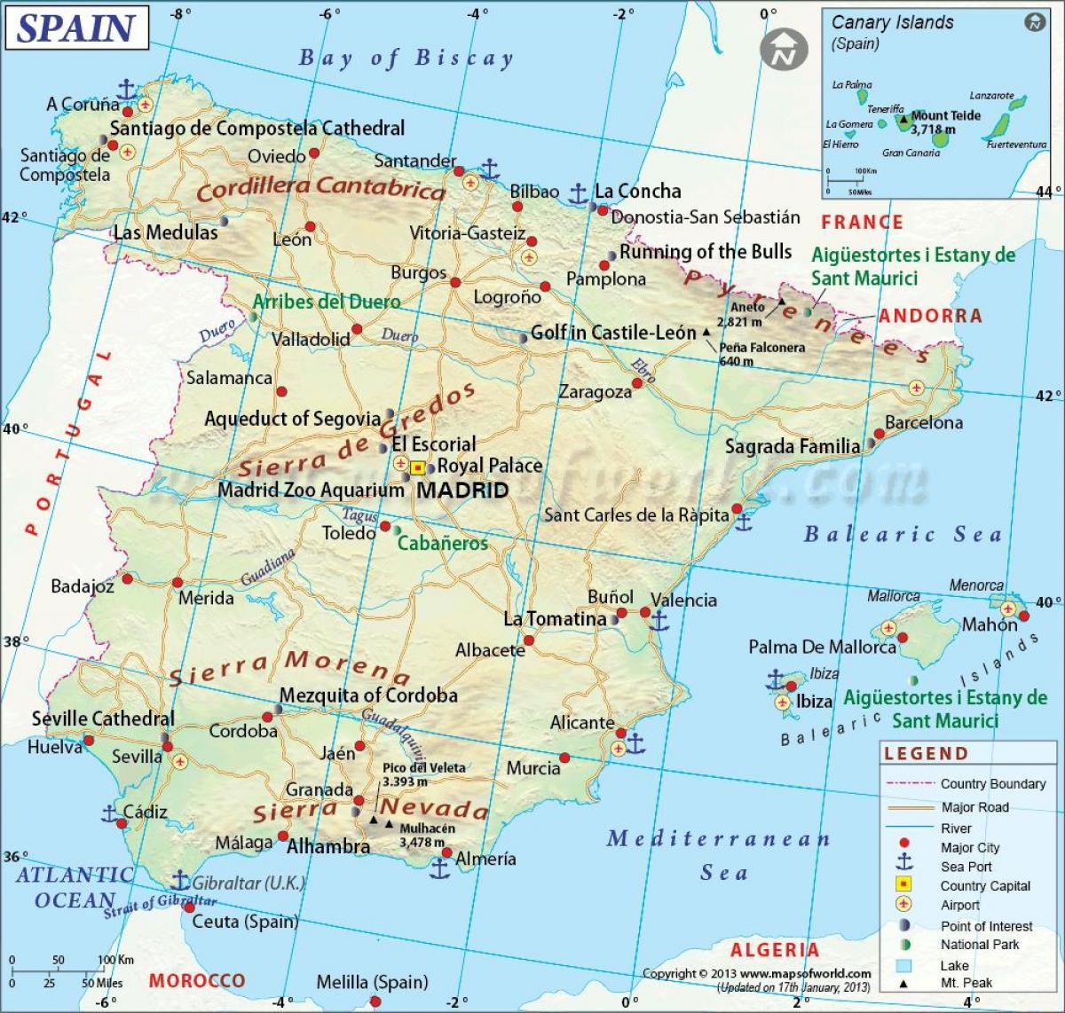 Iso Kartta Espanja Kartta Espanja Iso Etela Euroopassa Eurooppa