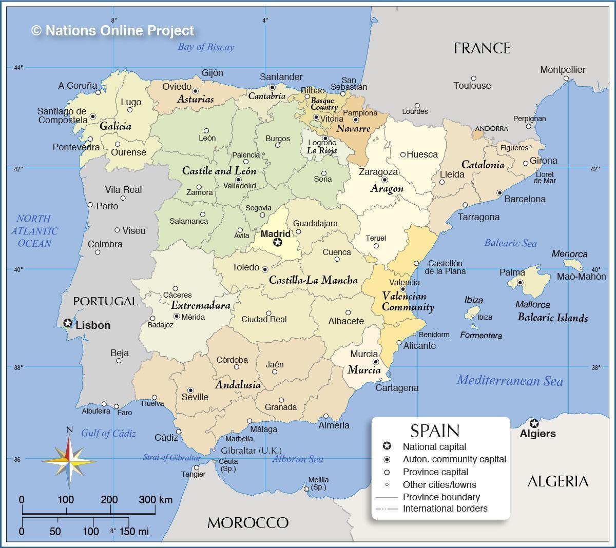 Kartta Espanja Espanja Kartta Etela Euroopassa Eurooppa