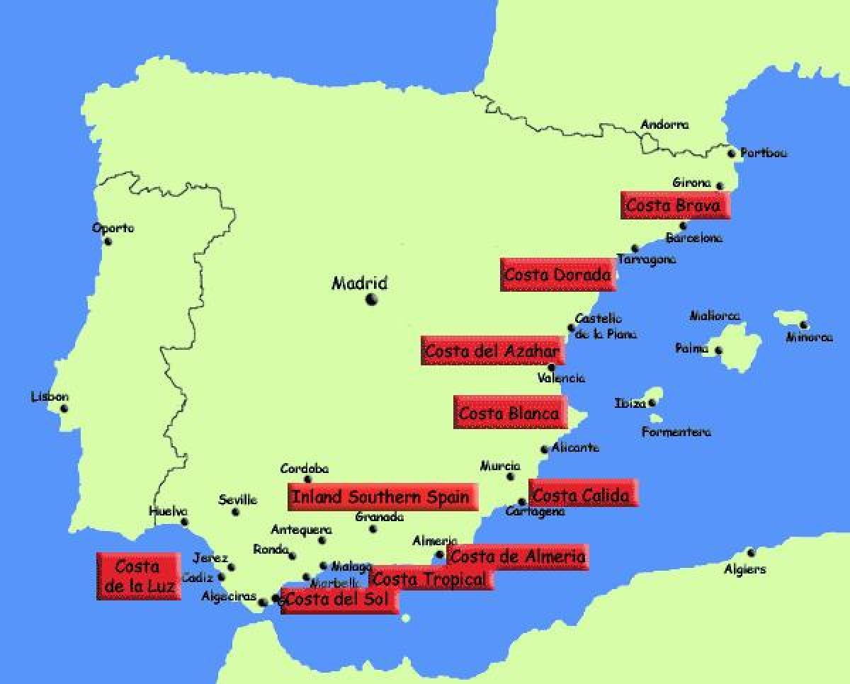 Kartta Etela Espanjan Lomakohteet Kartta Etela Espanjan