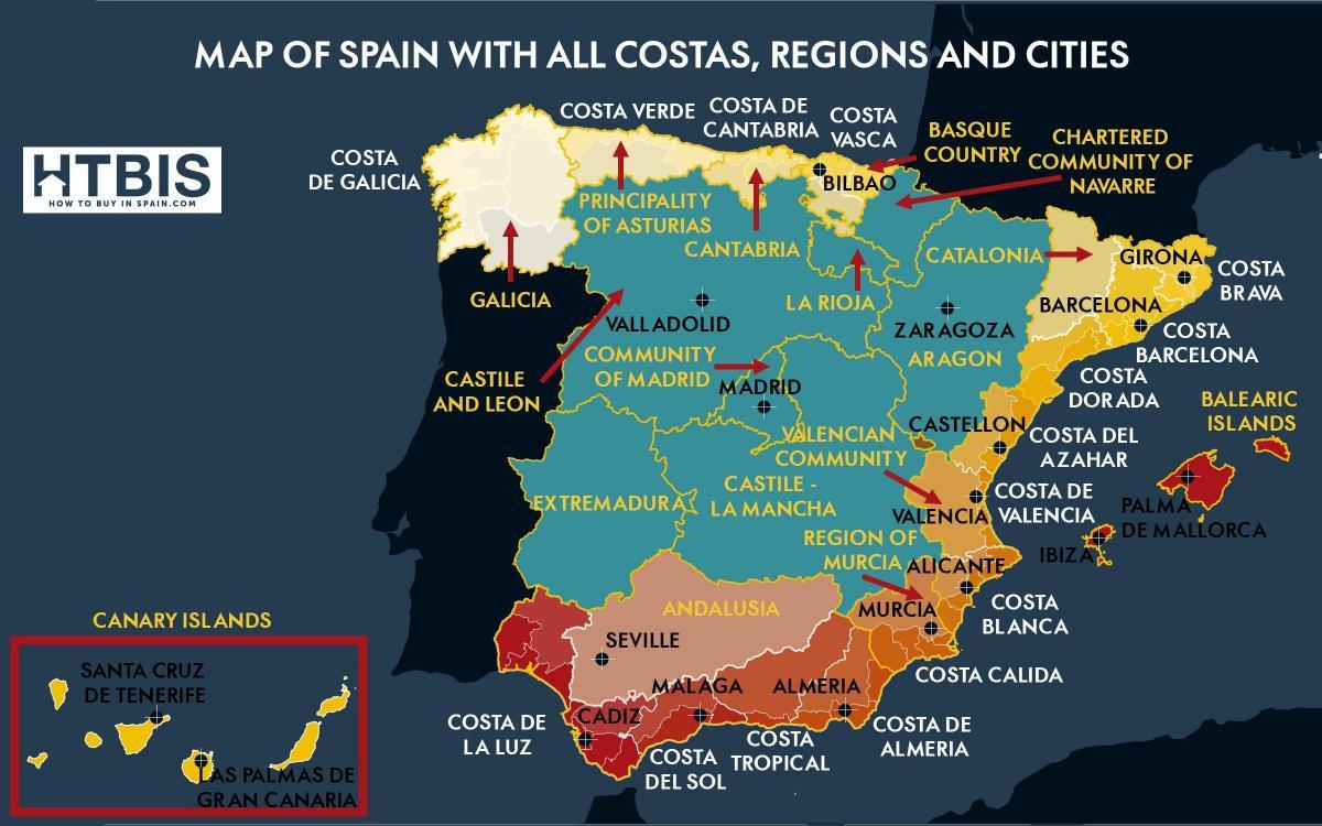 Kartta Etela Espanjan Rannikolla Kartta Etela Espanjan Rannikko